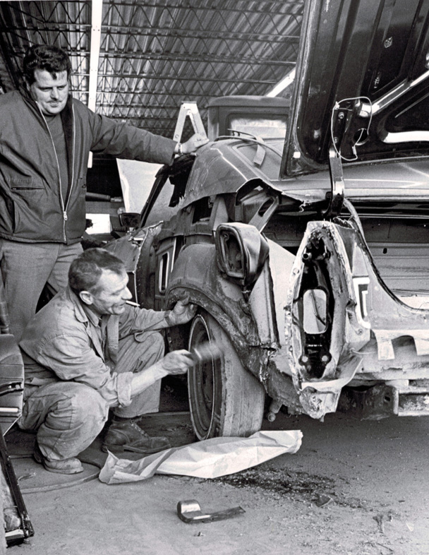 Vintage Shot of repairing Car Tire